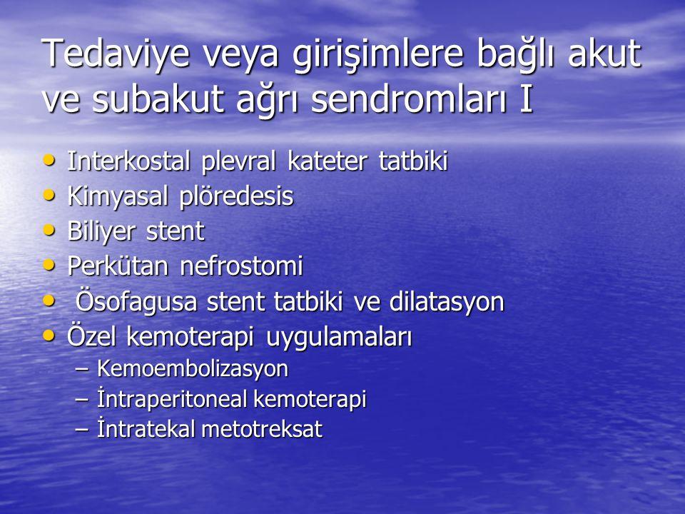 Viseral-retroperitoneal ağrı sendromları SendromAğrı özelliği Ösefageal-mediastinal ağrıRetrosternal-epigastrik Diyafragma infiltrasyonuOmuz ağrısı Pa