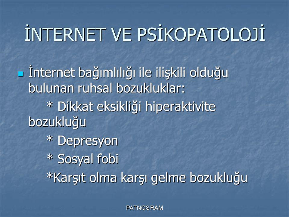 İNTERNET VE PSİKOPATOLOJİ İnternet bağımlılığı ile ilişkili olduğu bulunan ruhsal bozukluklar: İnternet bağımlılığı ile ilişkili olduğu bulunan ruhsal