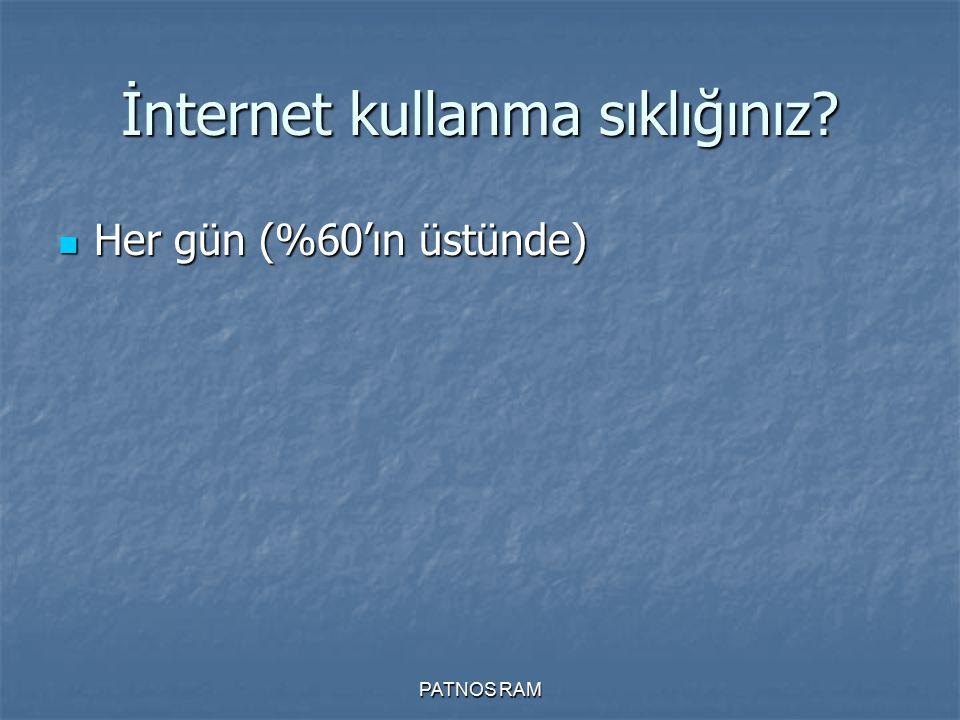 PATNOS RAM İnternet kullanma sıklığınız? Her gün (%60'ın üstünde) Her gün (%60'ın üstünde)