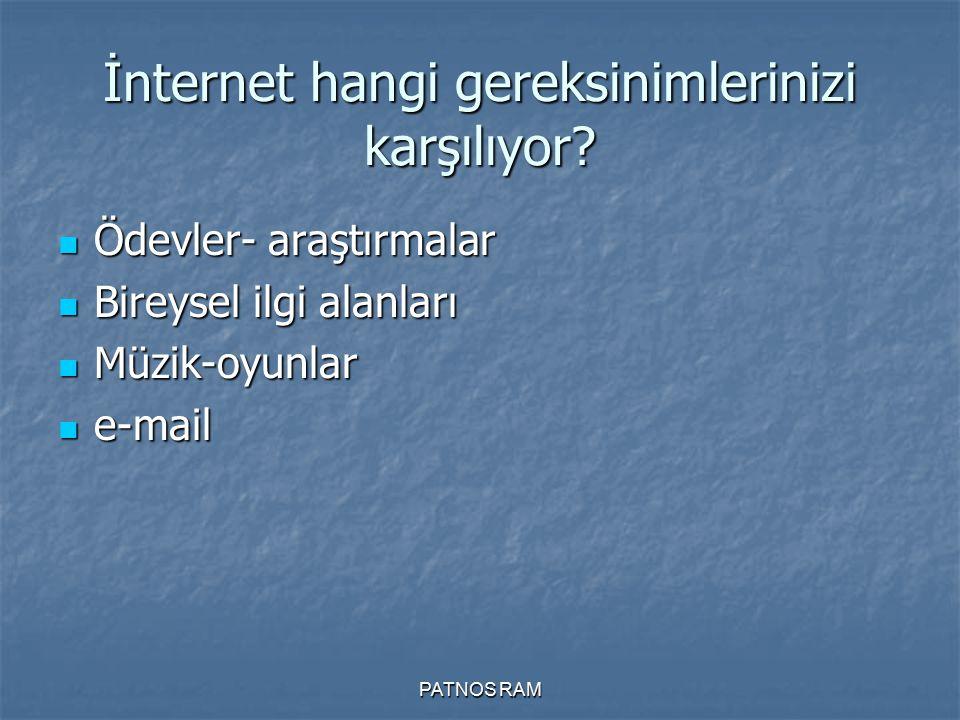 PATNOS RAM İnternet hangi gereksinimlerinizi karşılıyor? Ödevler- araştırmalar Ödevler- araştırmalar Bireysel ilgi alanları Bireysel ilgi alanları Müz