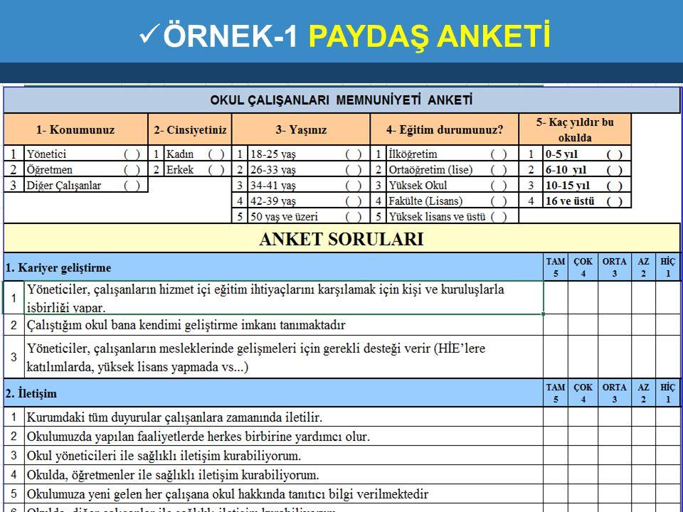 ÖRNEK-1 PAYDAŞ ANKETİ