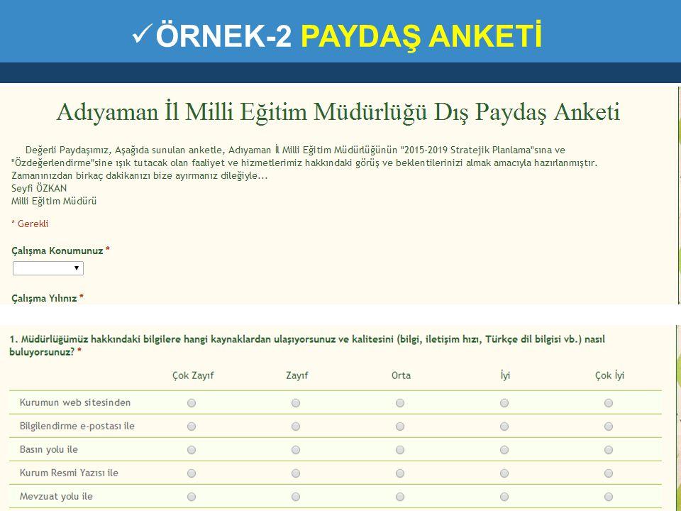 ÖRNEK-2 PAYDAŞ ANKETİ