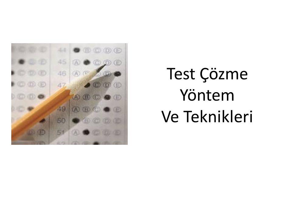 Test Çözme Yöntem Ve Teknikleri