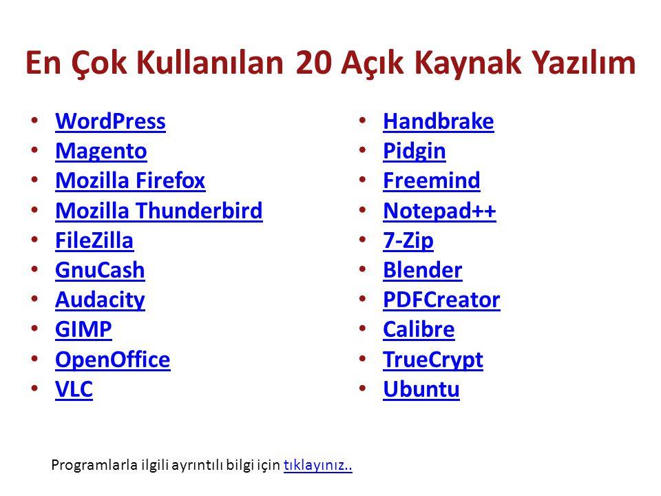 En Çok Kullanılan 20 Açık Kaynak Yazılım WordPress Magento Mozilla Firefox Mozilla Thunderbird FileZilla GnuCash Audacity GIMP OpenOffice VLC Handbrake Pidgin Freemind Notepad++ 7-Zip Blender PDFCreator Calibre TrueCrypt Ubuntu Programlarla ilgili ayrıntılı bilgi için tıklayınız..tıklayınız..