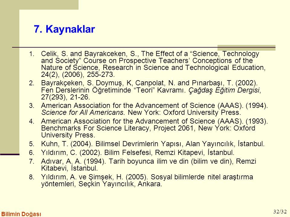 """Bilimin Doğası 7. Kaynaklar 1. Celik, S. and Bayrakceken, S., The Effect of a """"Science, Technology and Society"""" Course on Prospective Teachers' Concep"""