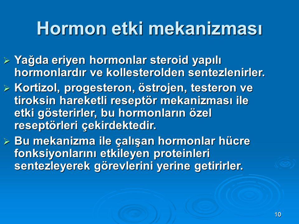 Hormon etki mekanizması  Yağda eriyen hormonlar steroid yapılı hormonlardır ve kollesterolden sentezlenirler.  Kortizol, progesteron, östrojen, test