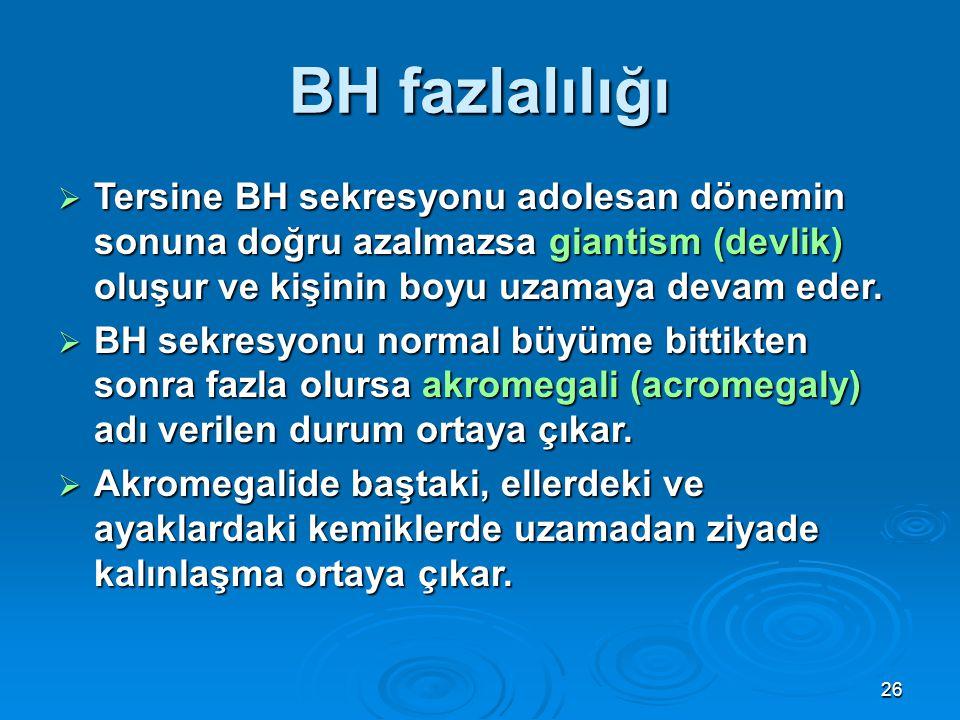 BH fazlalılığı  Tersine BH sekresyonu adolesan dönemin sonuna doğru azalmazsa giantism (devlik) oluşur ve kişinin boyu uzamaya devam eder.  BH sekre