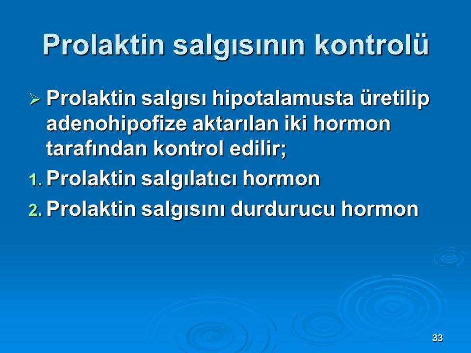 Prolaktin salgısının kontrolü  Prolaktin salgısı hipotalamusta üretilip adenohipofize aktarılan iki hormon tarafından kontrol edilir; 1. Prolaktin sa