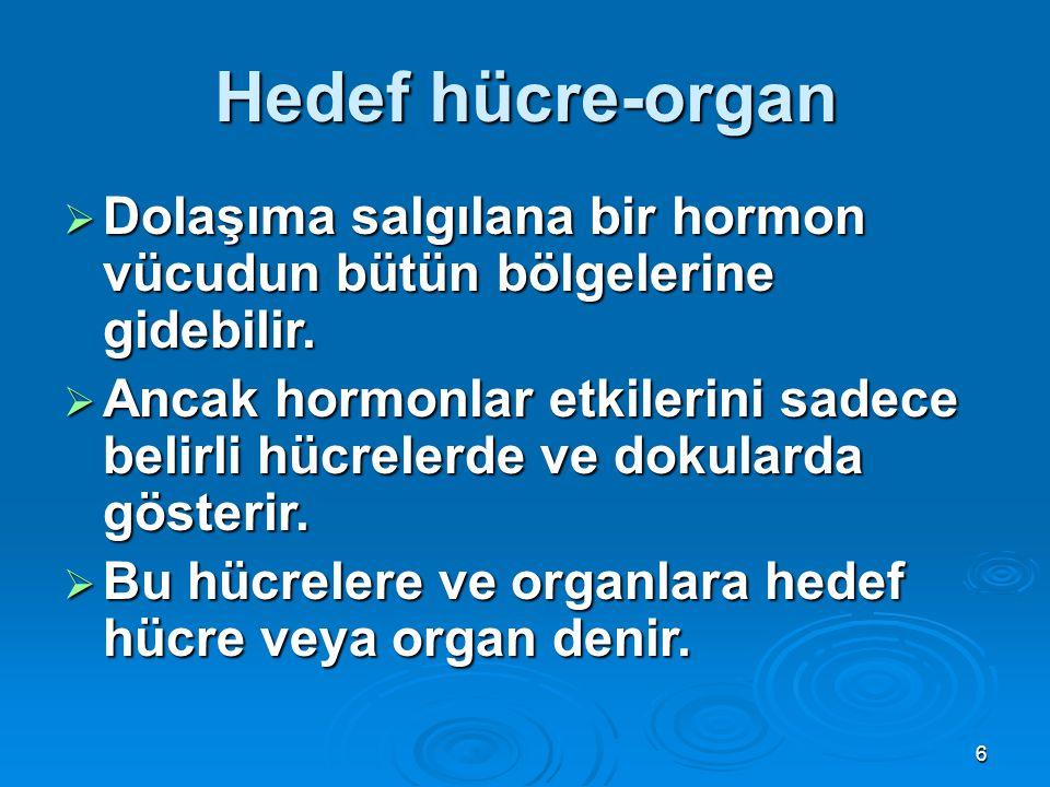 Hedef hücre-organ  Dolaşıma salgılana bir hormon vücudun bütün bölgelerine gidebilir.  Ancak hormonlar etkilerini sadece belirli hücrelerde ve dokul