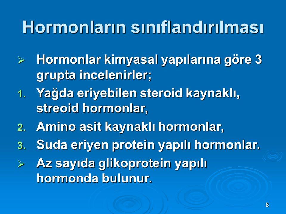 Hormonların sınıflandırılması  Hormonlar kimyasal yapılarına göre 3 grupta incelenirler; 1. Yağda eriyebilen steroid kaynaklı, streoid hormonlar, 2.