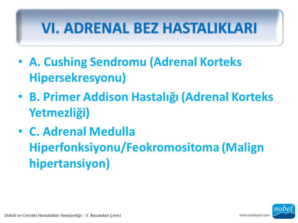 A. Cushing Sendromu (Adrenal Korteks Hipersekresyonu) B.