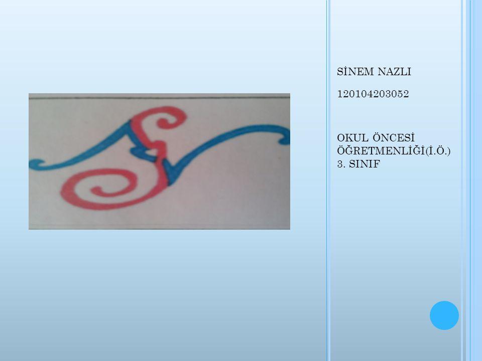 SİNEM NAZLI 120104203052 OKUL ÖNCESİ ÖĞRETMENLİĞİ(İ.Ö.) 3. SINIF