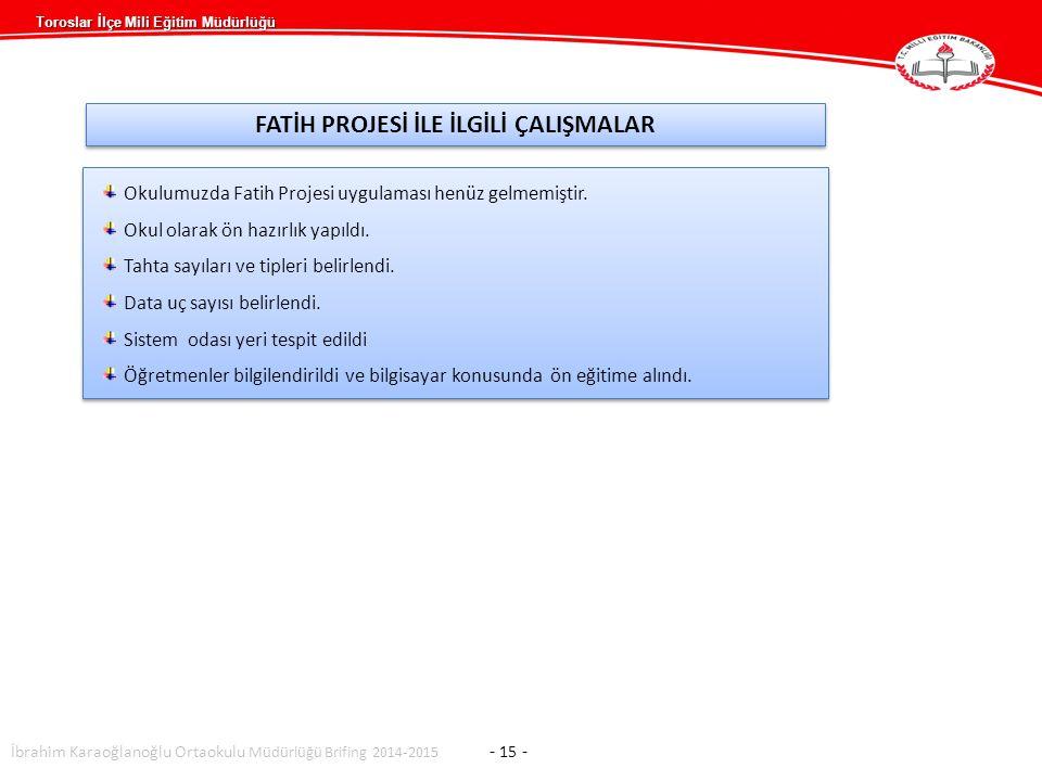 Toroslar İlçe Mili Eğitim Müdürlüğü İbrahim Karaoğlanoğlu Ortaokulu Müdürlüğü Brifing 2014-2015 - 15 - Okulumuzda Fatih Projesi uygulaması henüz gelmemiştir.