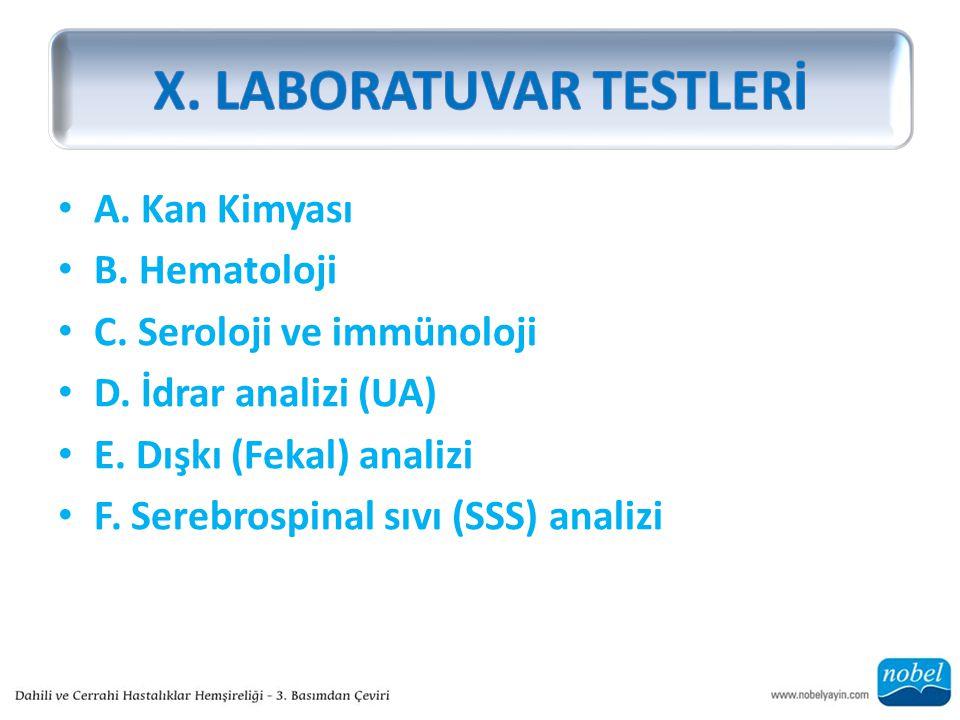 A.Kan Kimyası B. Hematoloji C. Seroloji ve immünoloji D.