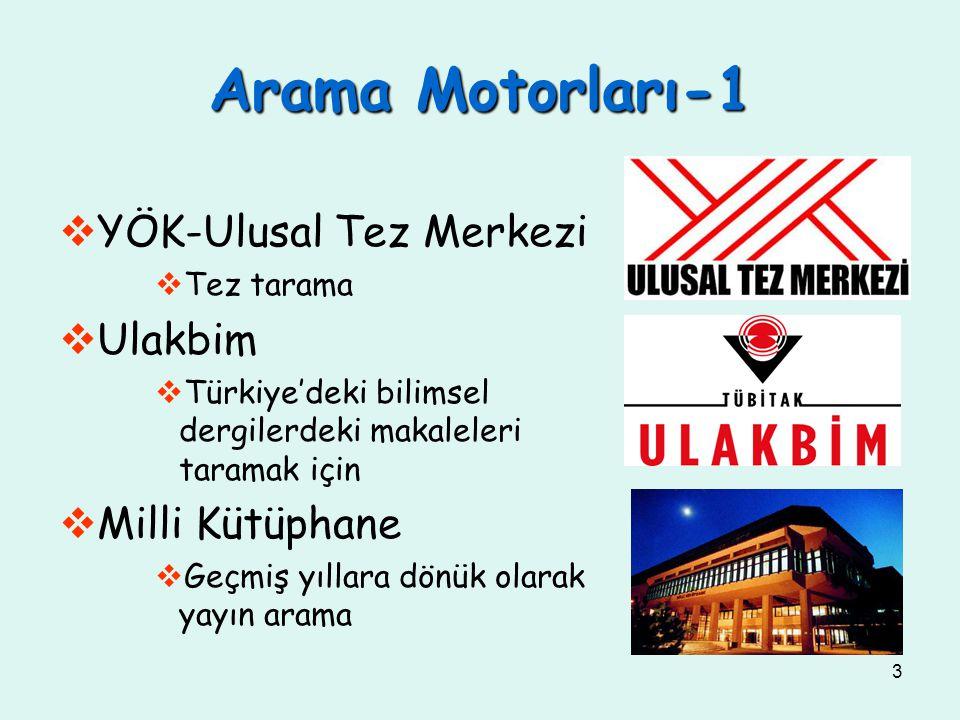 3 Arama Motorları-1  YÖK-Ulusal Tez Merkezi  Tez tarama  Ulakbim  Türkiye'deki bilimsel dergilerdeki makaleleri taramak için  Milli Kütüphane  G