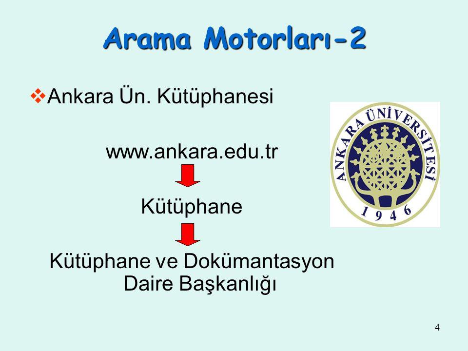 4  Ankara Ün. Kütüphanesi www.ankara.edu.tr Kütüphane Kütüphane ve Dokümantasyon Daire Başkanlığı Arama Motorları-2