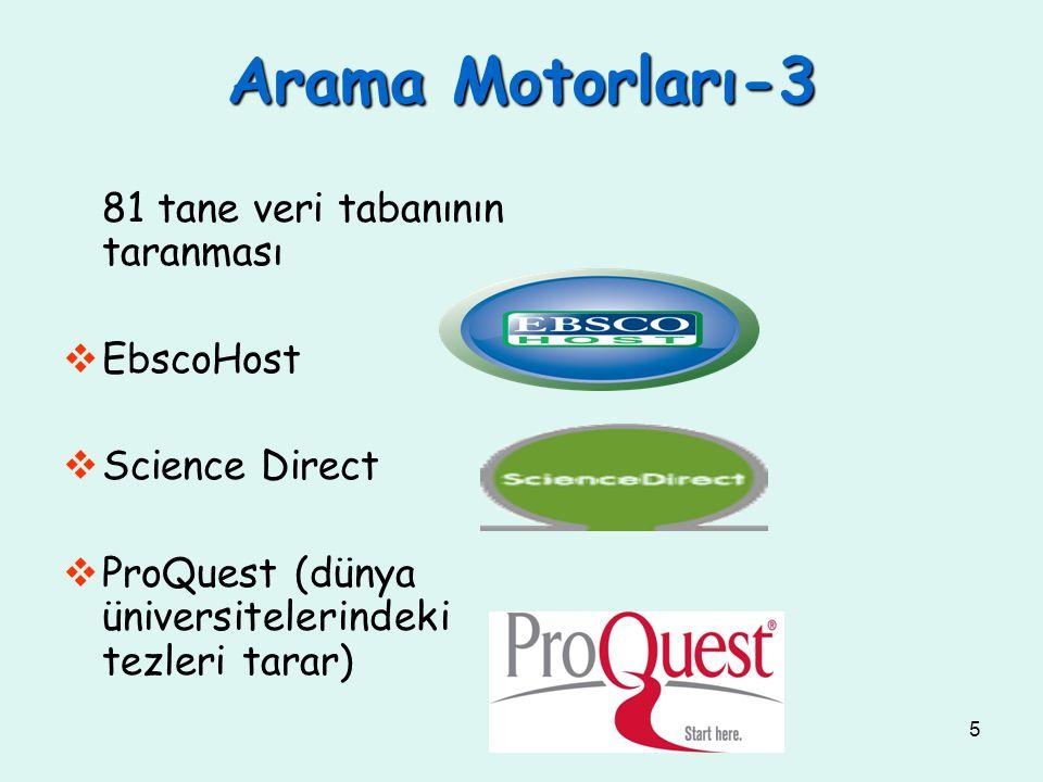 5 81 tane veri tabanının taranması  EbscoHost  Science Direct  ProQuest (dünya üniversitelerindeki tezleri tarar) Arama Motorları-3