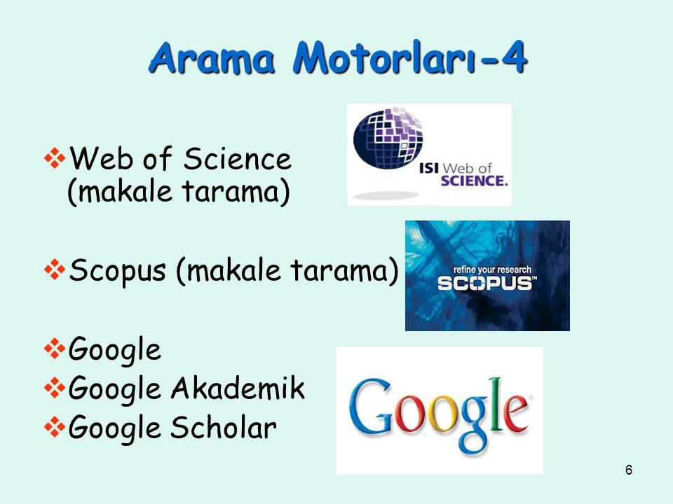 6  Web of Science (makale tarama)  Scopus (makale tarama)  Google  Google Akademik  Google Scholar Arama Motorları-4