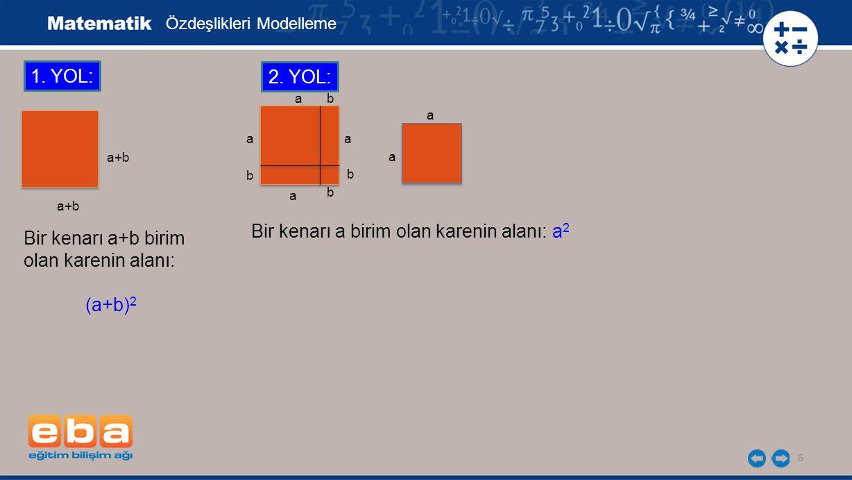 6 1. YOL: Bir kenarı a+b birim olan karenin alanı: (a+b) 2 a+b a a b b b b a a 2. YOL: Bir kenarı a birim olan karenin alanı: a 2 a a Özdeşlikleri Mod