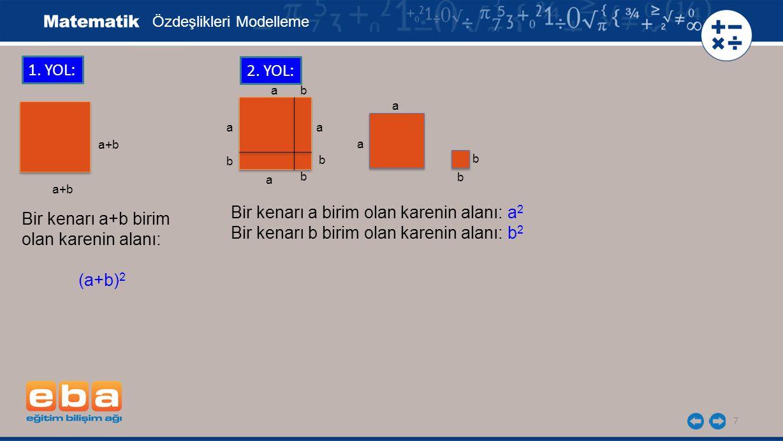 7 1. YOL: Bir kenarı a+b birim olan karenin alanı: (a+b) 2 a+b a a b b b b a a 2. YOL: Bir kenarı a birim olan karenin alanı: a 2 Bir kenarı b birim o