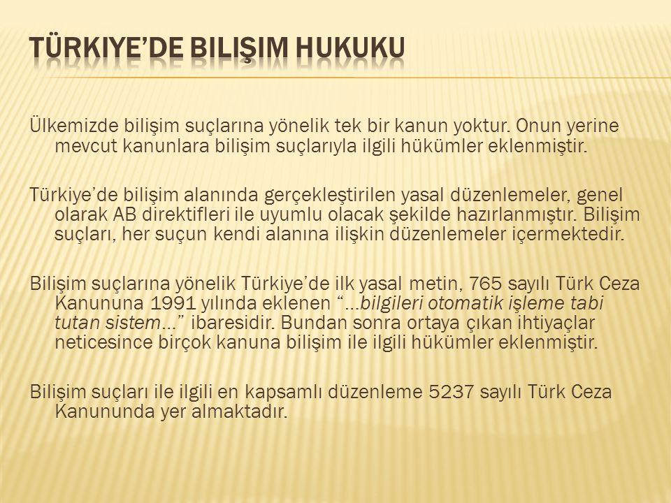 Ülkemizde bilişim suçlarına yönelik tek bir kanun yoktur. Onun yerine mevcut kanunlara bilişim suçlarıyla ilgili hükümler eklenmiştir. Türkiye'de bili
