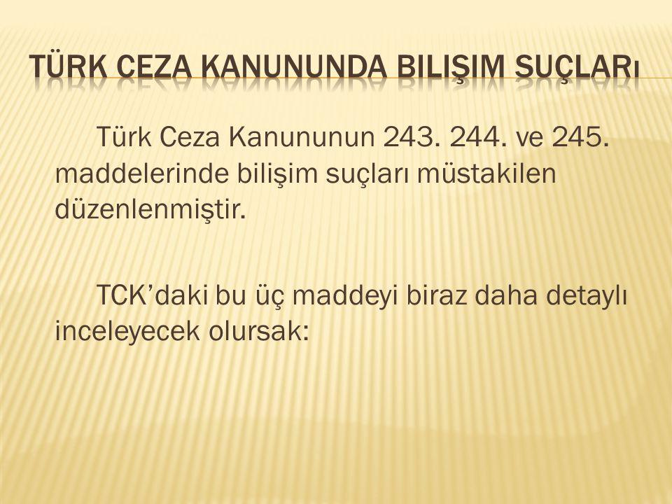 Türk Ceza Kanununun 243. 244. ve 245. maddelerinde bilişim suçları müstakilen düzenlenmiştir. TCK'daki bu üç maddeyi biraz daha detaylı inceleyecek ol