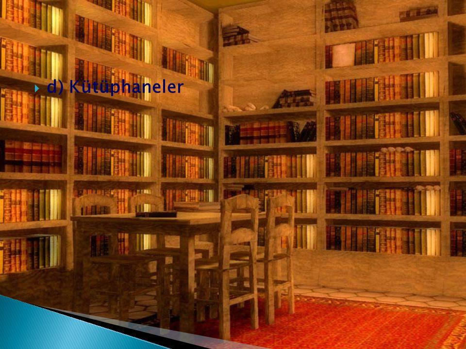  d) Kütüphaneler