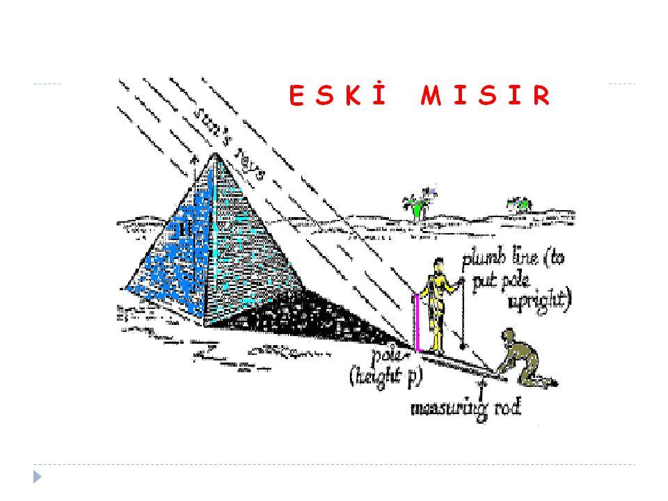 Eski Mısırda Geometri  Üçgenin alanı: A = a x h /2  Dairenin Alanı:  Küp, paralelyüz, silindir ve kare pramitin, kesik kare pramitin hacmi biliniyor.