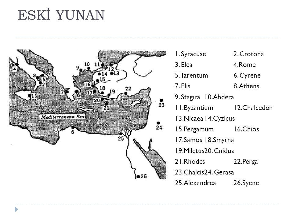 ESKİ YUNAN 1.Syracuse2. Crotona 3. Elea4.Rome 5. Tarentum6.