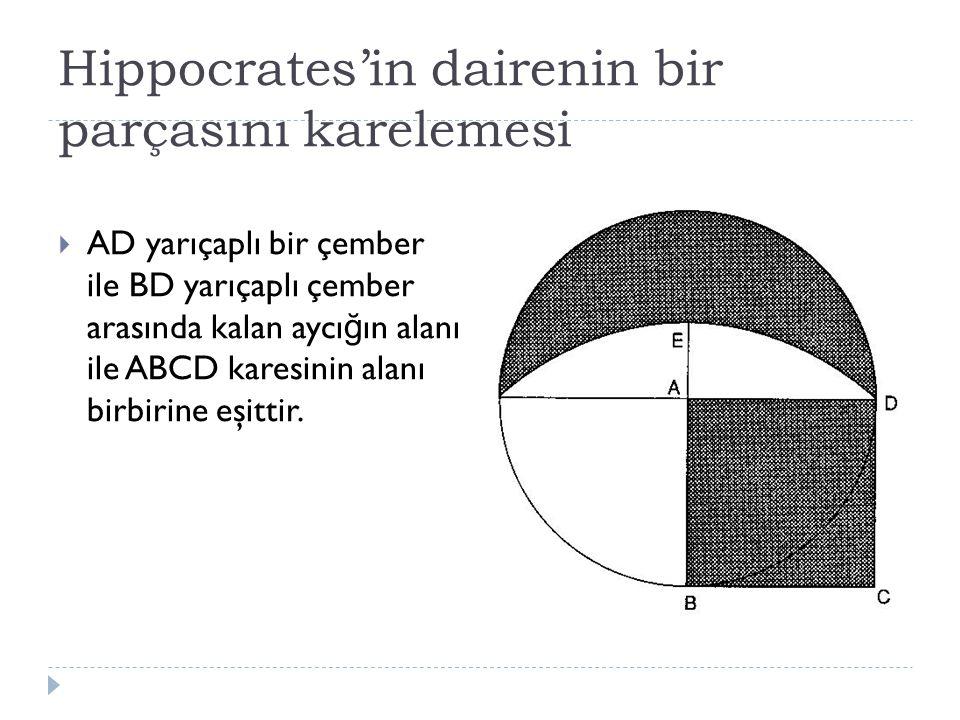 Hippocrates'in dairenin bir parçasını karelemesi  AD yarıçaplı bir çember ile BD yarıçaplı çember arasında kalan aycı ğ ın alanı ile ABCD karesinin alanı birbirine eşittir.