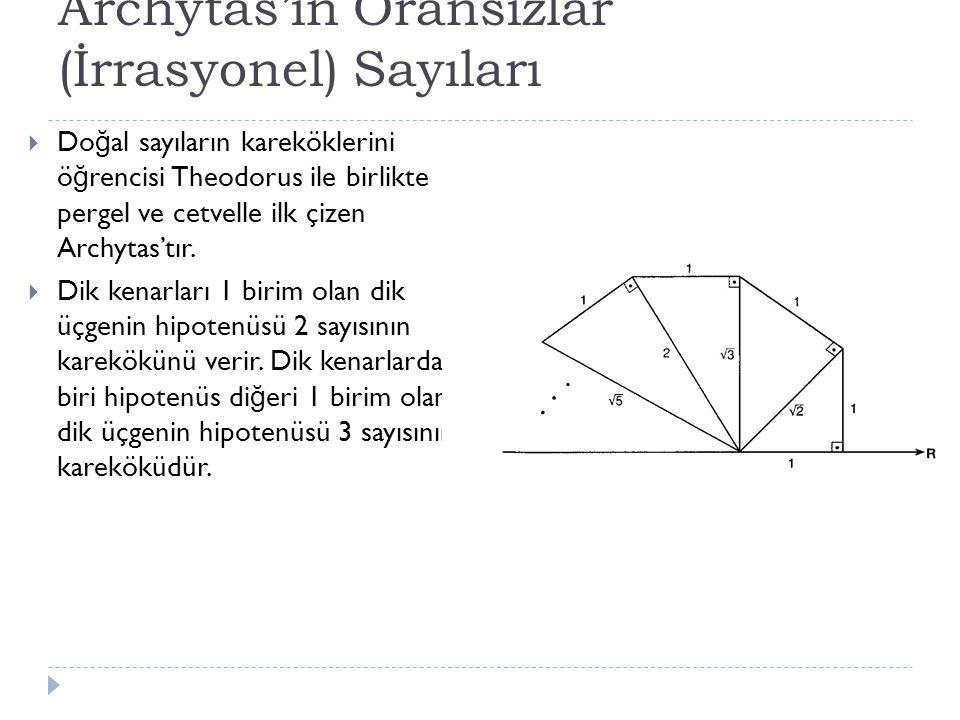 Archytas'ın Oransızlar (İrrasyonel) Sayıları  Do ğ al sayıların kareköklerini ö ğ rencisi Theodorus ile birlikte pergel ve cetvelle ilk çizen Archytas'tır.