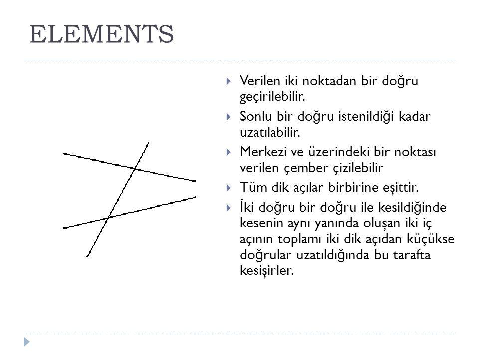 ELEMENTS  Verilen iki noktadan bir do ğ ru geçirilebilir.