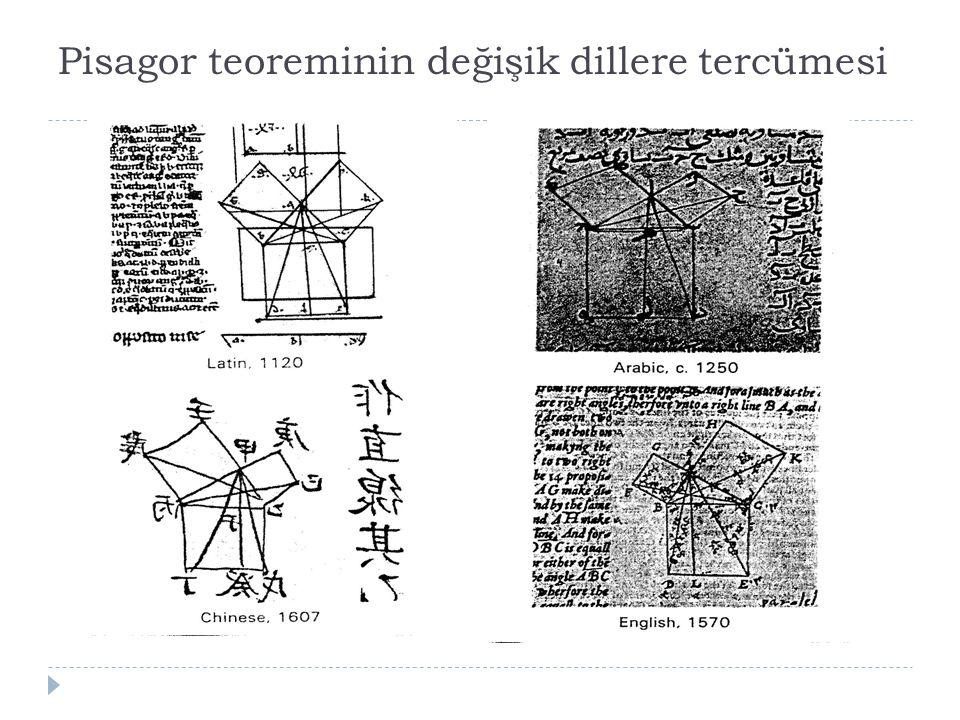 Pisagor teoreminin değişik dillere tercümesi