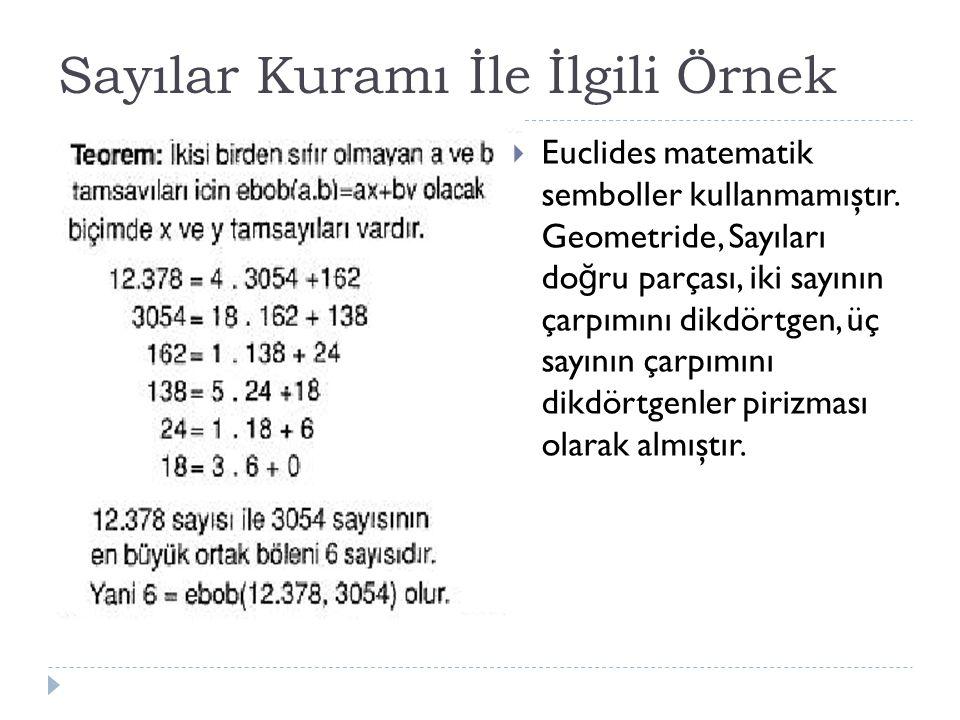 Sayılar Kuramı İle İlgili Örnek  Euclides matematik semboller kullanmamıştır.