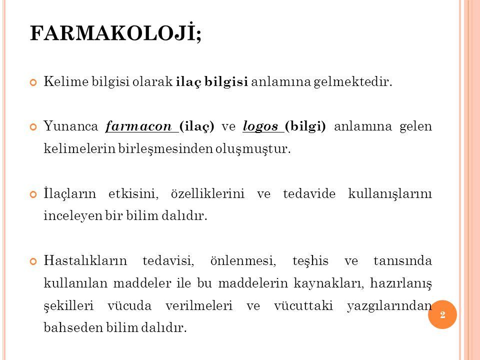 FARMAKOLOJİ; Kelime bilgisi olarak ilaç bilgisi anlamına gelmektedir. Yunanca farmacon (ilaç) ve logos (bilgi) anlamına gelen kelimelerin birleşmesind