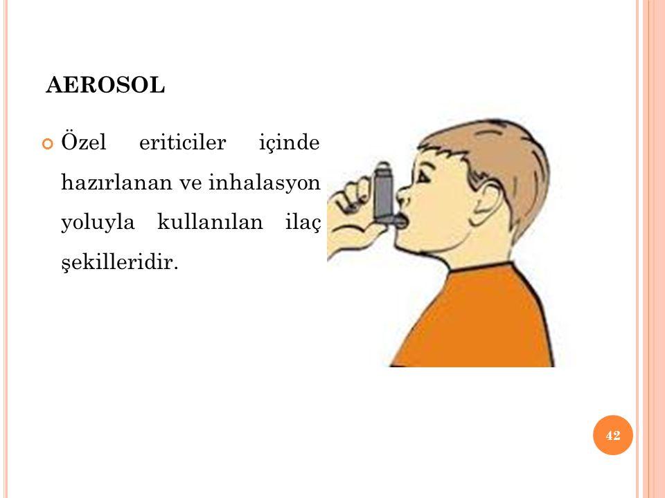 AEROSOL Özel eriticiler içinde hazırlanan ve inhalasyon yoluyla kullanılan ilaç şekilleridir. 42