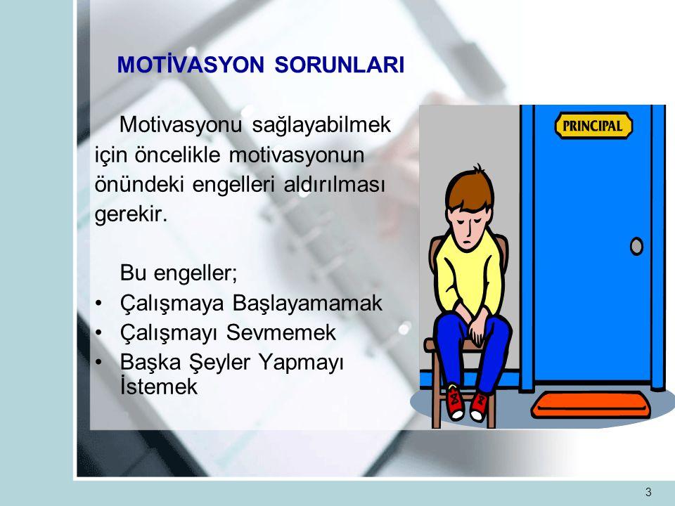 3 MOTİVASYON SORUNLARI Motivasyonu sağlayabilmek için öncelikle motivasyonun önündeki engelleri aldırılması gerekir.