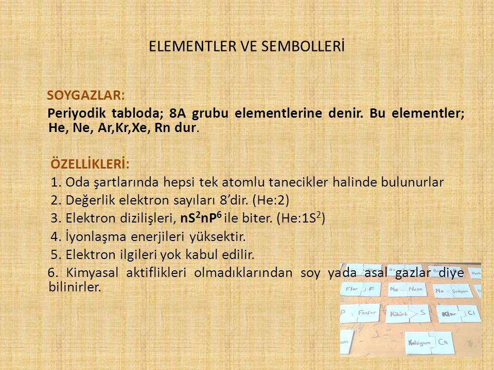 ELEMENTLER VE SEMBOLLERİ SOYGAZLAR: Periyodik tabloda; 8A grubu elementlerine denir. Bu elementler; He, Ne, Ar,Kr,Xe, Rn dur. ÖZELLİKLERİ: 1. Oda şart