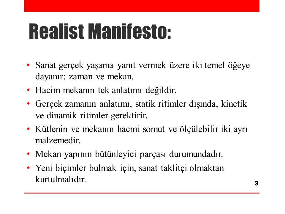 Realist Manifesto: Sanat gerçek yaşama yanıt vermek üzere iki temel öğeye dayanır: zaman ve mekan. Hacim mekanın tek anlatımı değildir. Gerçek zamanın
