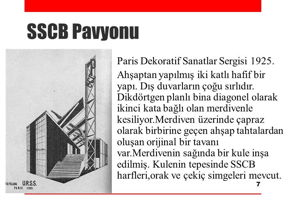 SSCB Pavyonu Paris Dekoratif Sanatlar Sergisi 1925. Ahşaptan yapılmış iki katlı hafif bir yapı. Dış duvarların çoğu sırlıdır. Dikdörtgen planlı bina d