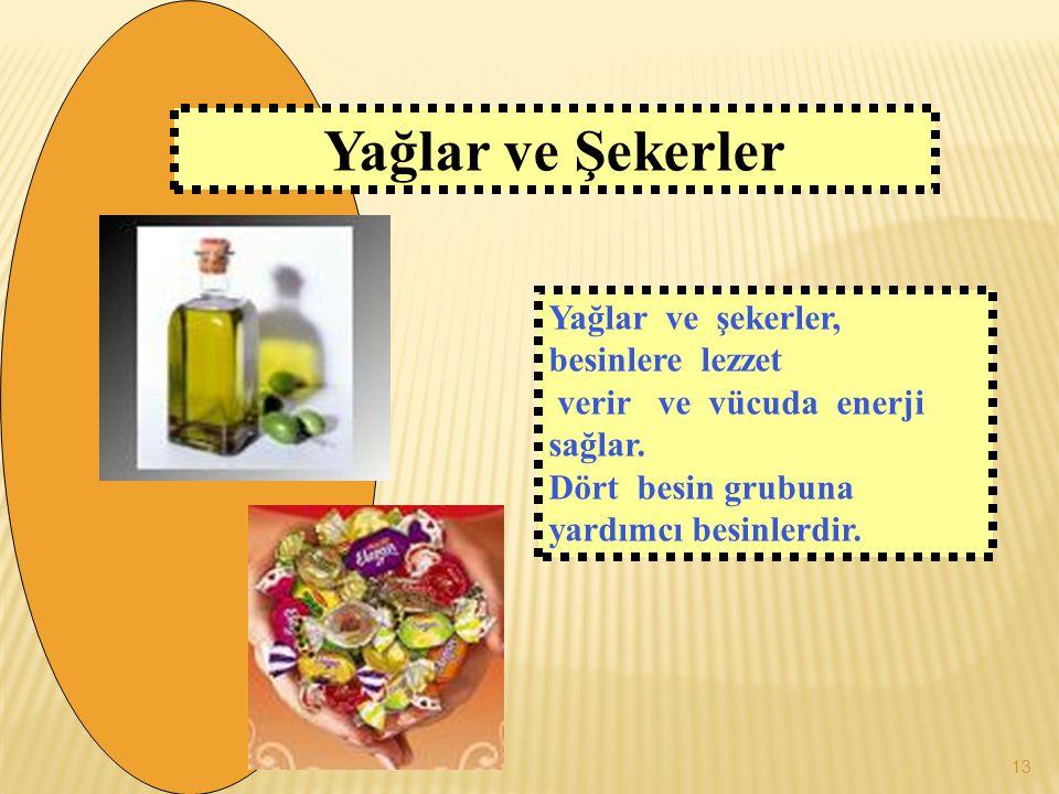 Yağlar ve şekerler, besinlere lezzet verir ve vücuda enerji sağlar. Dört besin grubuna yardımcı besinlerdir. Yağlar ve Şekerler 13