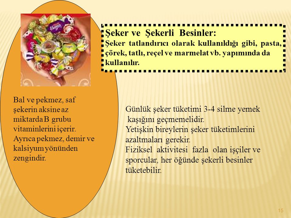 Şeker ve Şekerli Besinler: Şeker tatlandırıcı olarak kullanıldığı gibi, pasta, çörek, tatlı, reçel ve marmelat vb. yapımında da kullanılır. Bal ve pek