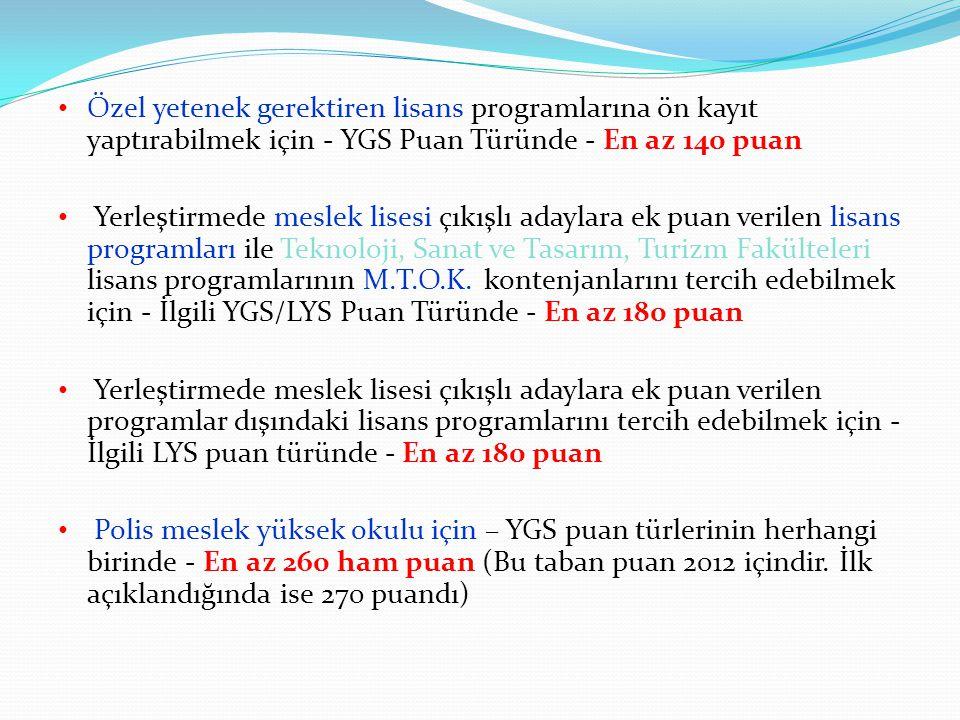 Özel yetenek gerektiren lisans programlarına ön kayıt yaptırabilmek için - YGS Puan Türünde - En az 140 puan Yerleştirmede meslek lisesi çıkışlı adayl