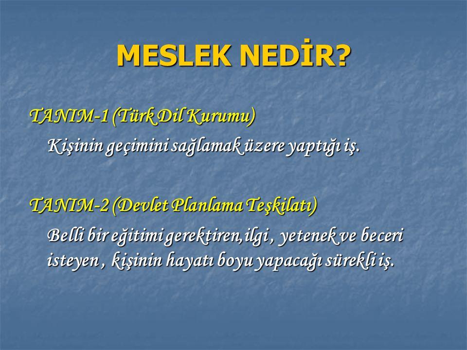 MESLEK NEDİR? TANIM-1 (Türk Dil Kurumu) Kişinin geçimini sağlamak üzere yaptığı iş. Kişinin geçimini sağlamak üzere yaptığı iş. TANIM-2 (Devlet Planla