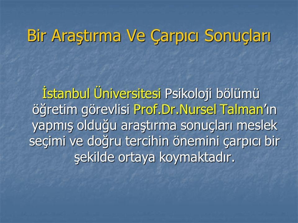 Bir Araştırma Ve Çarpıcı Sonuçları İstanbul Üniversitesi Psikoloji bölümü öğretim görevlisi Prof.Dr.Nursel Talman'ın yapmış olduğu araştırma sonuçları