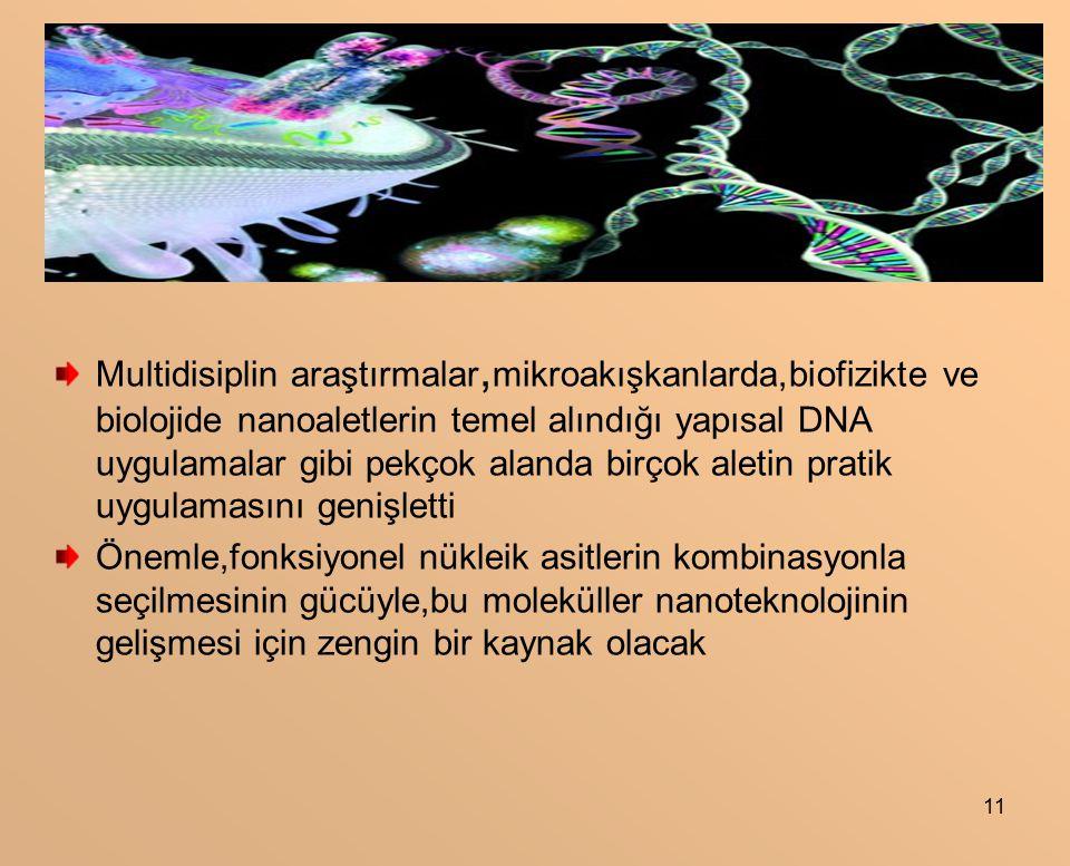 11 Multidisiplin araştırmalar, mikroakışkanlarda,biofizikte ve biolojide nanoaletlerin temel alındığı yapısal DNA uygulamalar gibi pekçok alanda birçok aletin pratik uygulamasını genişletti Önemle,fonksiyonel nükleik asitlerin kombinasyonla seçilmesinin gücüyle,bu moleküller nanoteknolojinin gelişmesi için zengin bir kaynak olacak