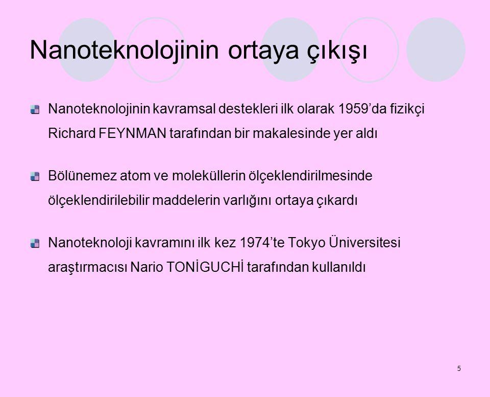 5 Nanoteknolojinin ortaya çıkışı Nanoteknolojinin kavramsal destekleri ilk olarak 1959'da fizikçi Richard FEYNMAN tarafından bir makalesinde yer aldı Bölünemez atom ve moleküllerin ölçeklendirilmesinde ölçeklendirilebilir maddelerin varlığını ortaya çıkardı Nanoteknoloji kavramını ilk kez 1974'te Tokyo Üniversitesi araştırmacısı Nario TONİGUCHİ tarafından kullanıldı