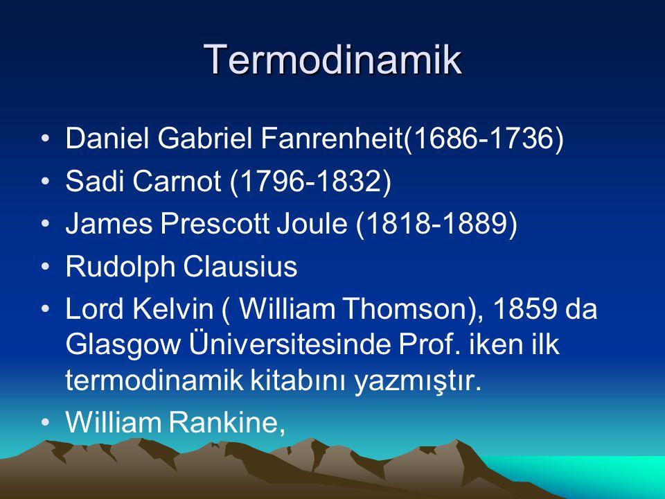 Termodinamik Daniel Gabriel Fanrenheit(1686-1736) Sadi Carnot (1796-1832) James Prescott Joule (1818-1889) Rudolph Clausius Lord Kelvin ( William Thom