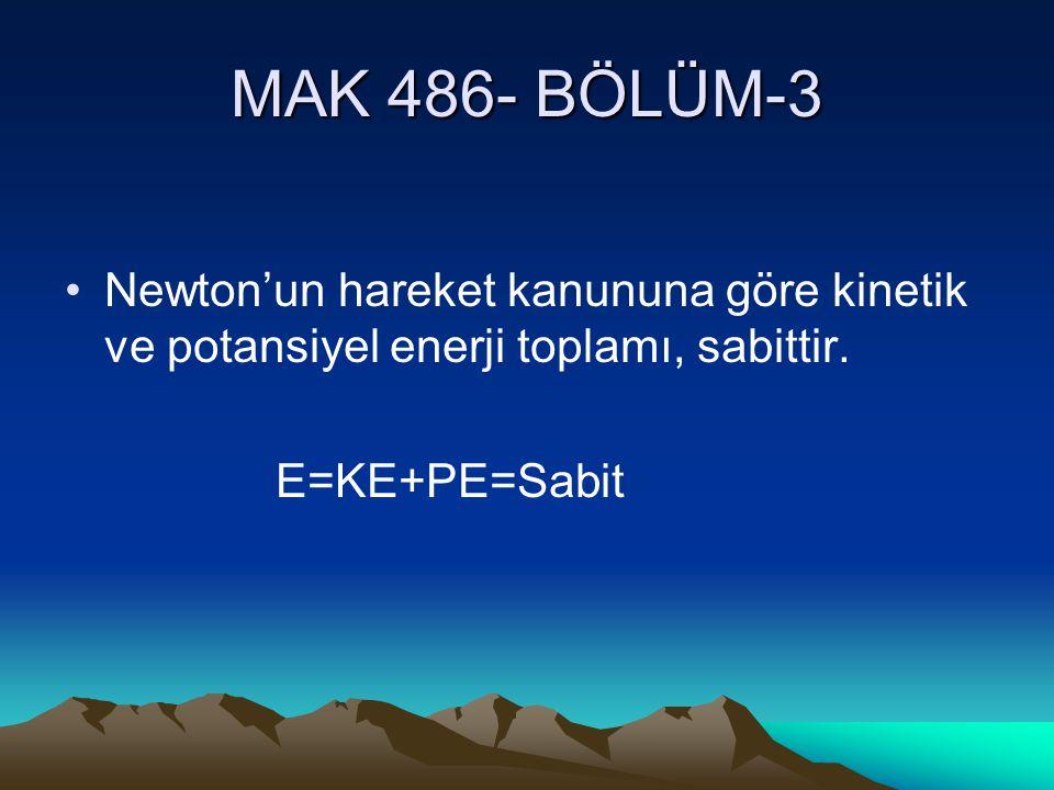 MAK 486- BÖLÜM-3 Newton'un hareket kanununa göre kinetik ve potansiyel enerji toplamı, sabittir. E=KE+PE=Sabit