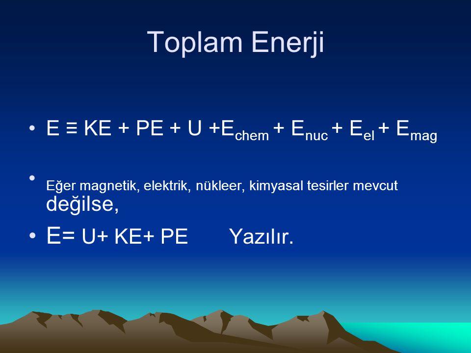 Toplam Enerji E ≡ KE + PE + U +E chem + E nuc + E el + E mag Eğer magnetik, elektrik, nükleer, kimyasal tesirler mevcut değilse, E= U+ KE+ PE Yazılır.